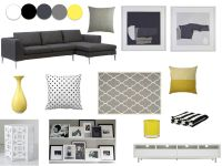 Grey, yellow, white and black living room | Our new home ...
