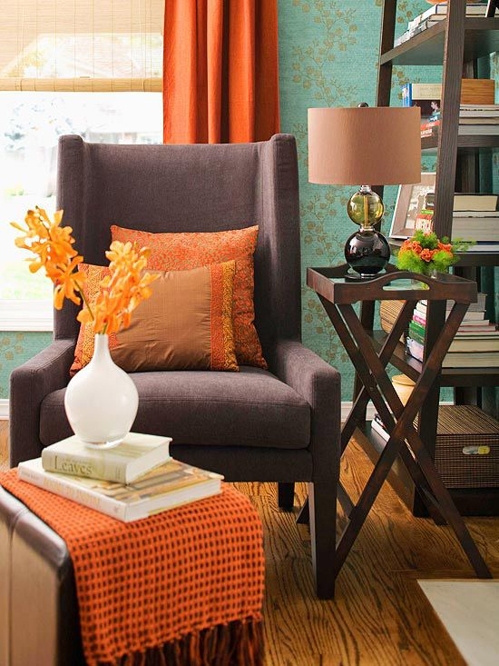 Fall Decorating Fresh Color Combinations Rust orange, Color - orange and brown living room