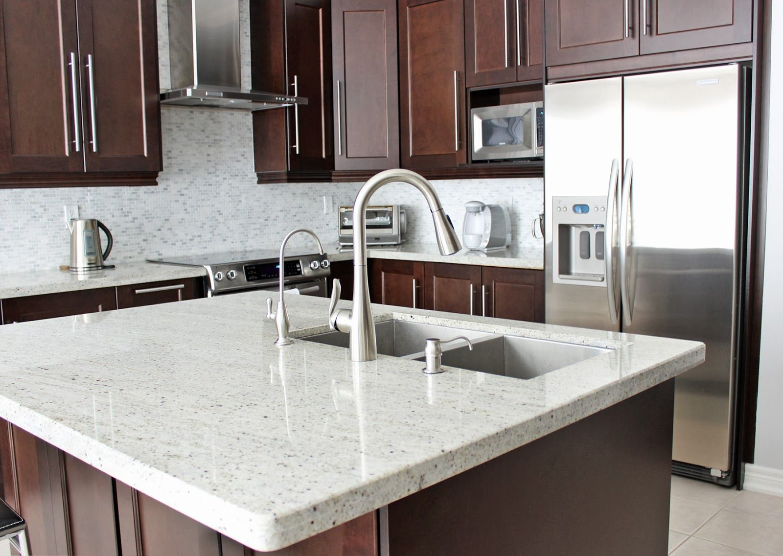 Maple Kitchen Cabinets With Marble Countertops Moen 39s Arbor One Handle Kitchen Faucet Dark Maple Kitchen