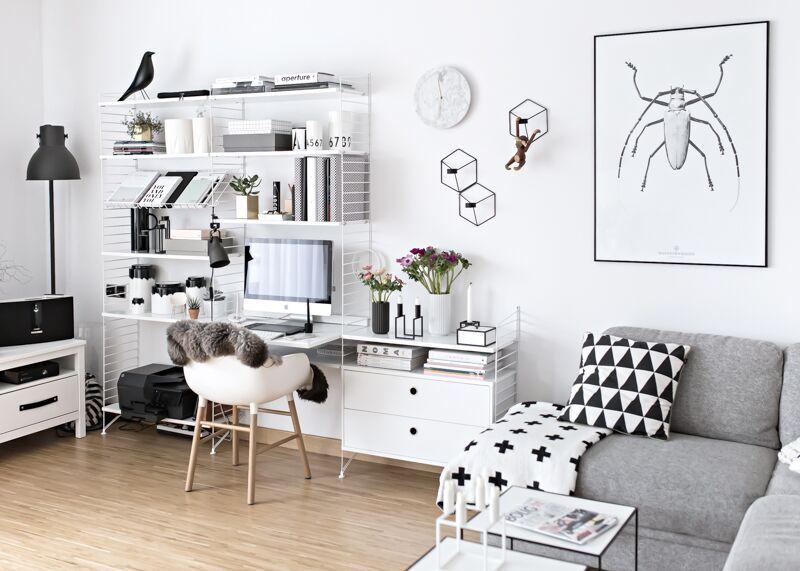 String shelving with desk in Scandinavian living room living - desk in living room