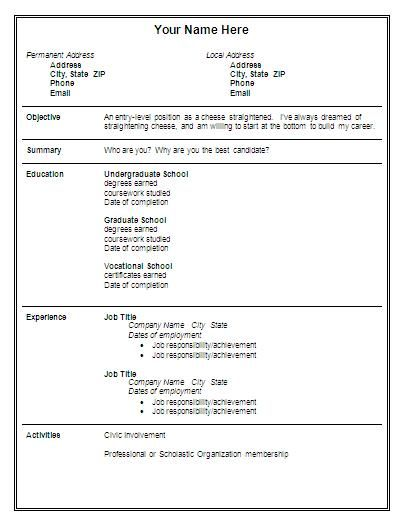 free format for resume Download Entry Level Resume Lex - entry level resume templates