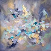 Abstract oil painting with gold leaf by artist Blaire ...