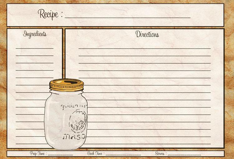 Mason Jar Recipe Card 4x6 - PDF COCINA (recetas, cuadrantes - recipe card