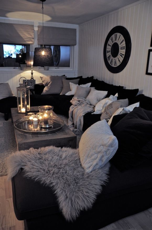 Black And White Living Room Interior Design Ideas Dark sofa, Hot - silver living room furniture