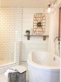 Farmhouse Master Bathroom | Subway tiles, Rustic wood and ...