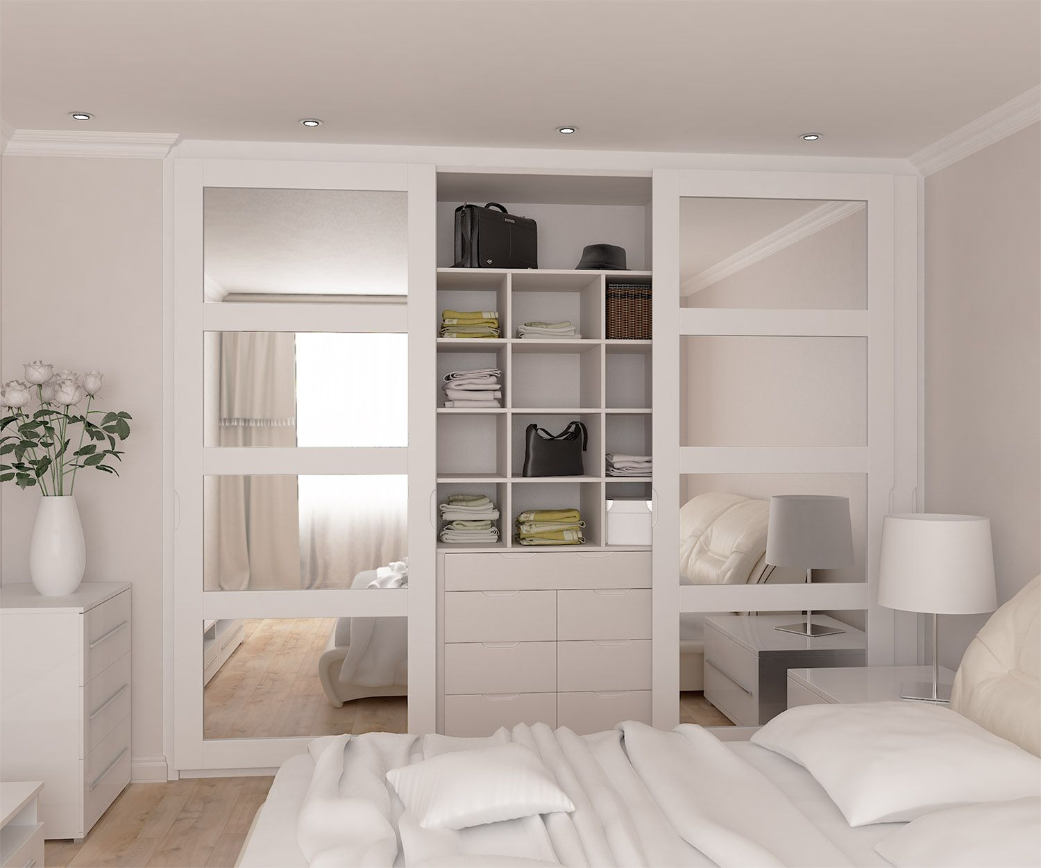 White Bedroom Wardrobes Fully Fitted Wardrobes Range With Mirrored Doors In Spray