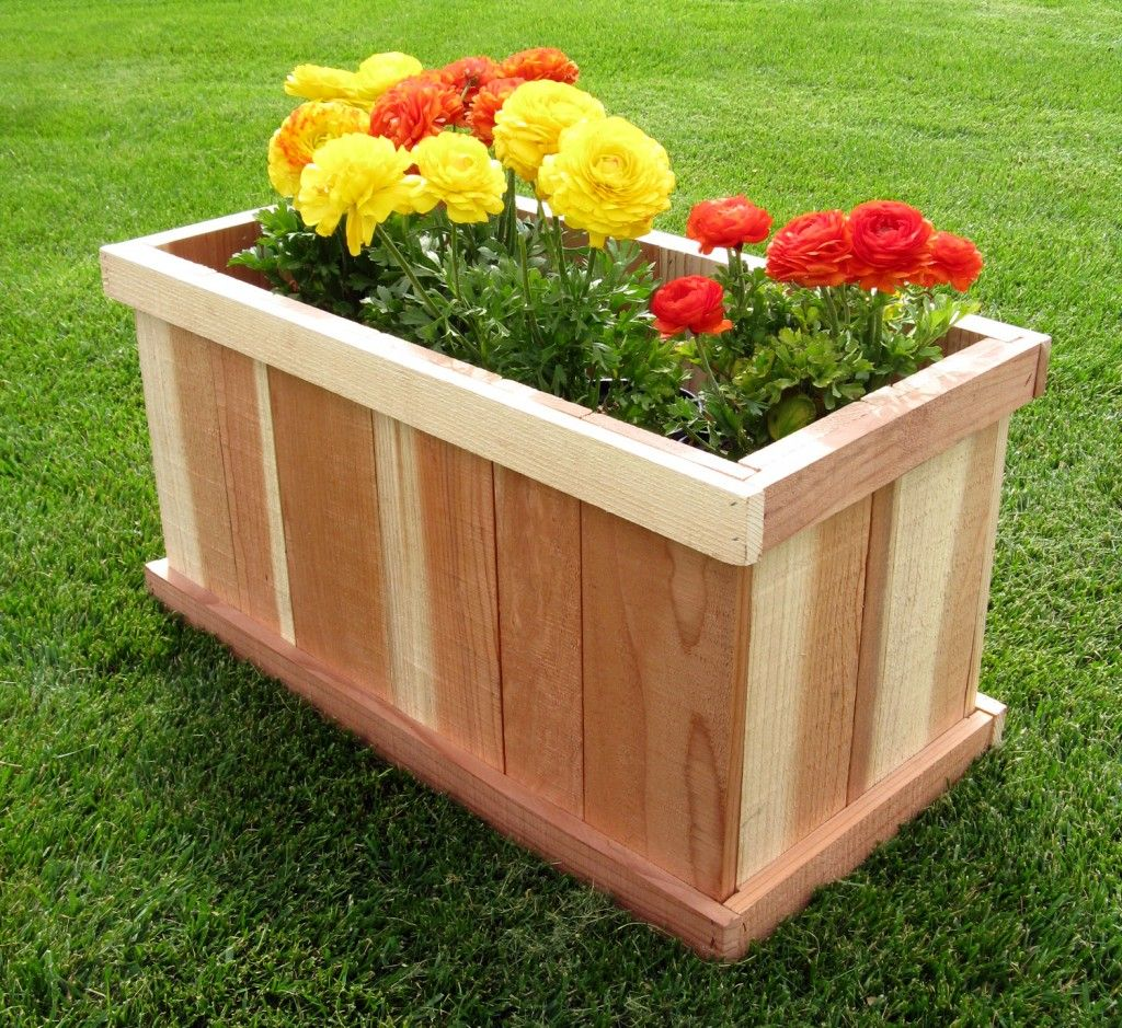 Box à Planter Humboldt Redwood 30 Rectangular Planter Box House