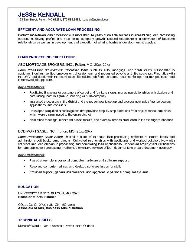 Mortgage Loan Processor Resume Example Home Mortgage Pinterest - mortgage loan processor resume
