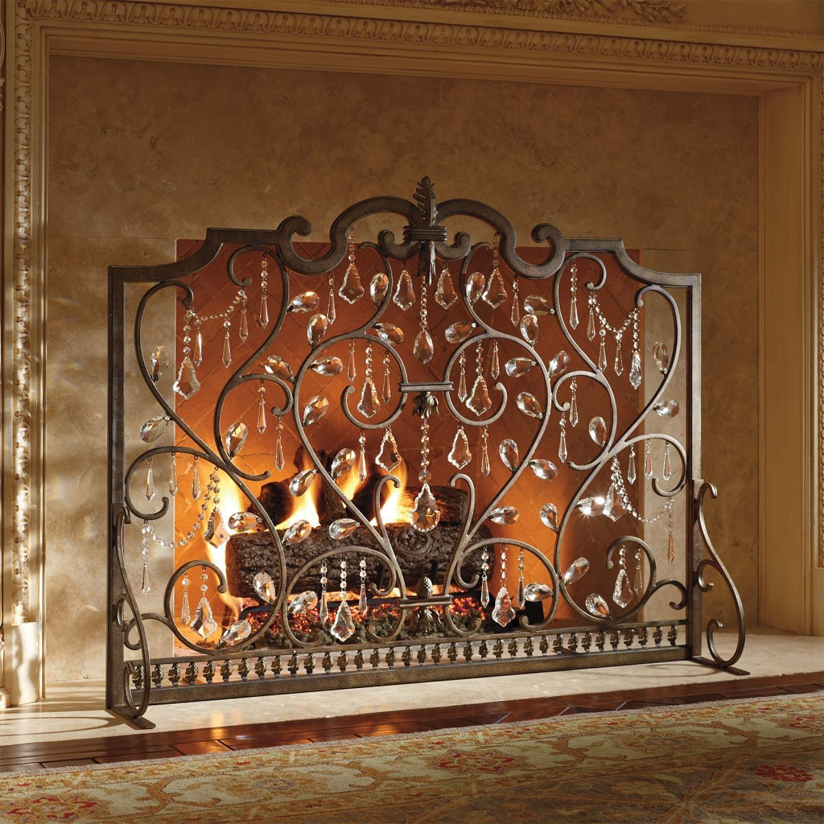 Fireplace Screens Tree Design Louviere Fire Screen Frontgate Stylish Heat Fireplace