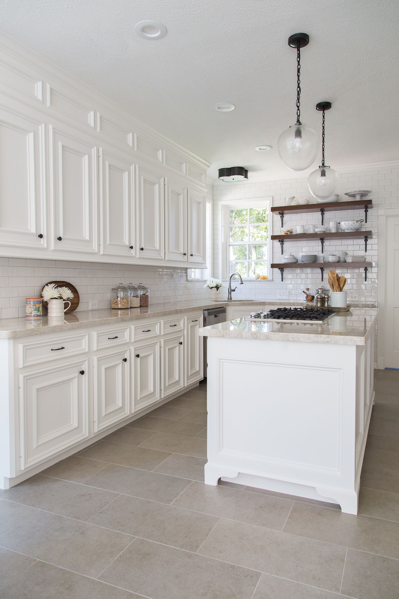 tile for kitchen floor BEFORE AFTER A Dark Dismal Kitchen Is Made Light And Bright Open shelving Cabinets and Tables
