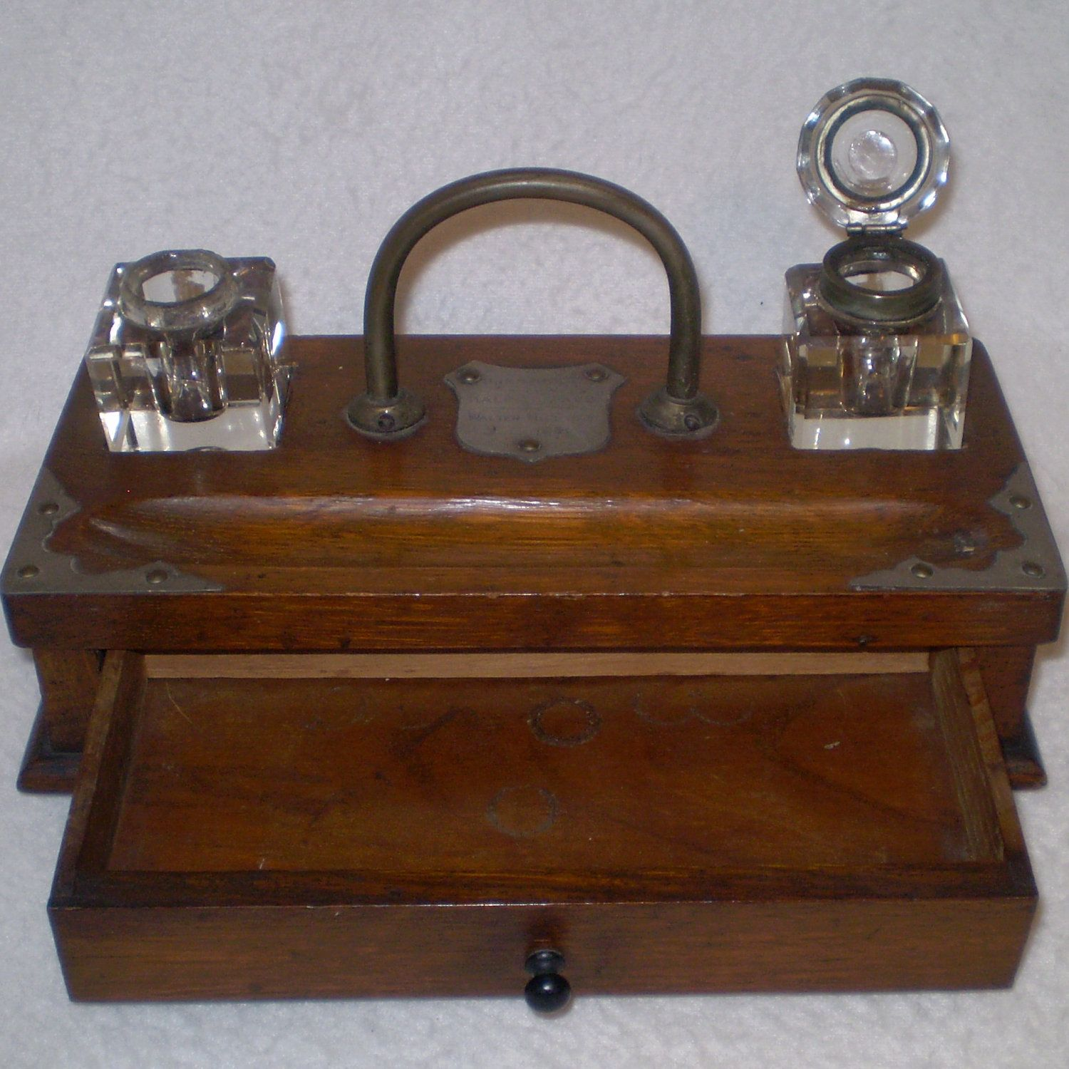 Vintage Antique Writing Station Pen And Ink Station From