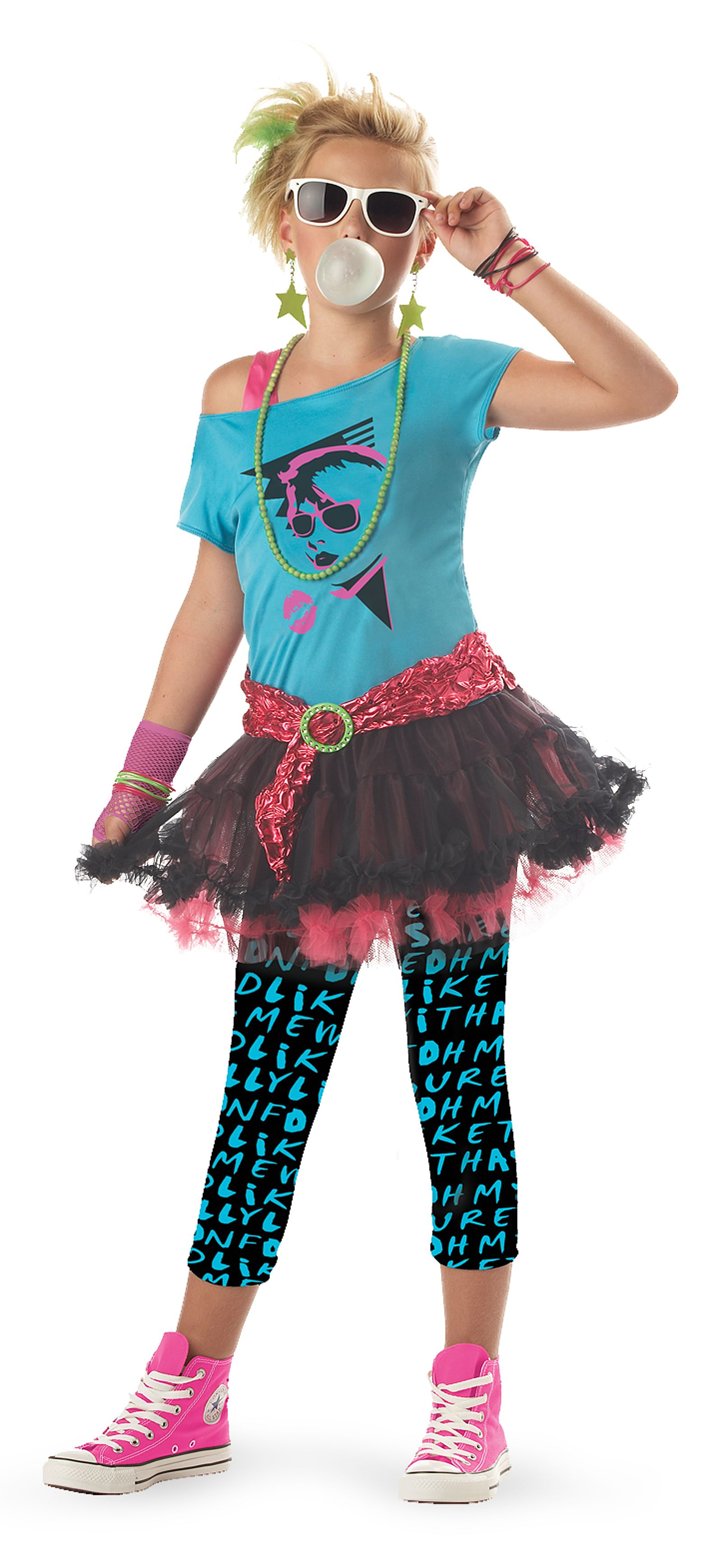 This totally awesome valley girl costume features a blue off the shoulder top with an face screen print on the chest one hot pink strap and an attached
