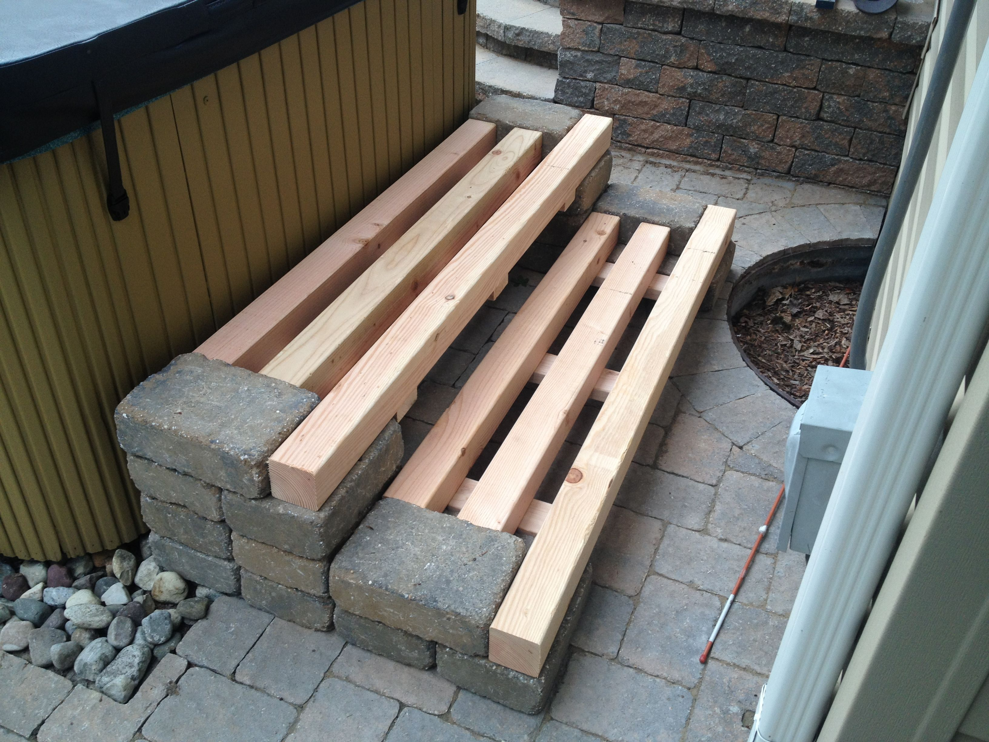 Wooden Steps Patio Block And Wood Removable Steps Design
