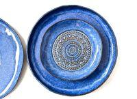 Set Of 3 Handmade Pottery Plates- Aztec Blue Organic Shape ...