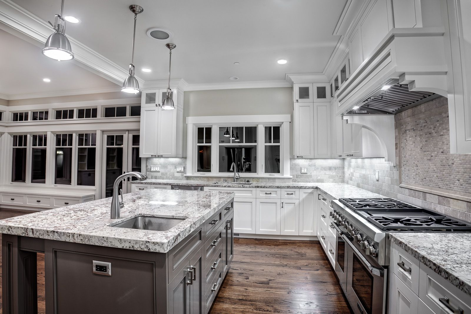 Wonderful kashmir white granite countertops for contemporary kitchen ideas together with metal pendant lamps and wooden