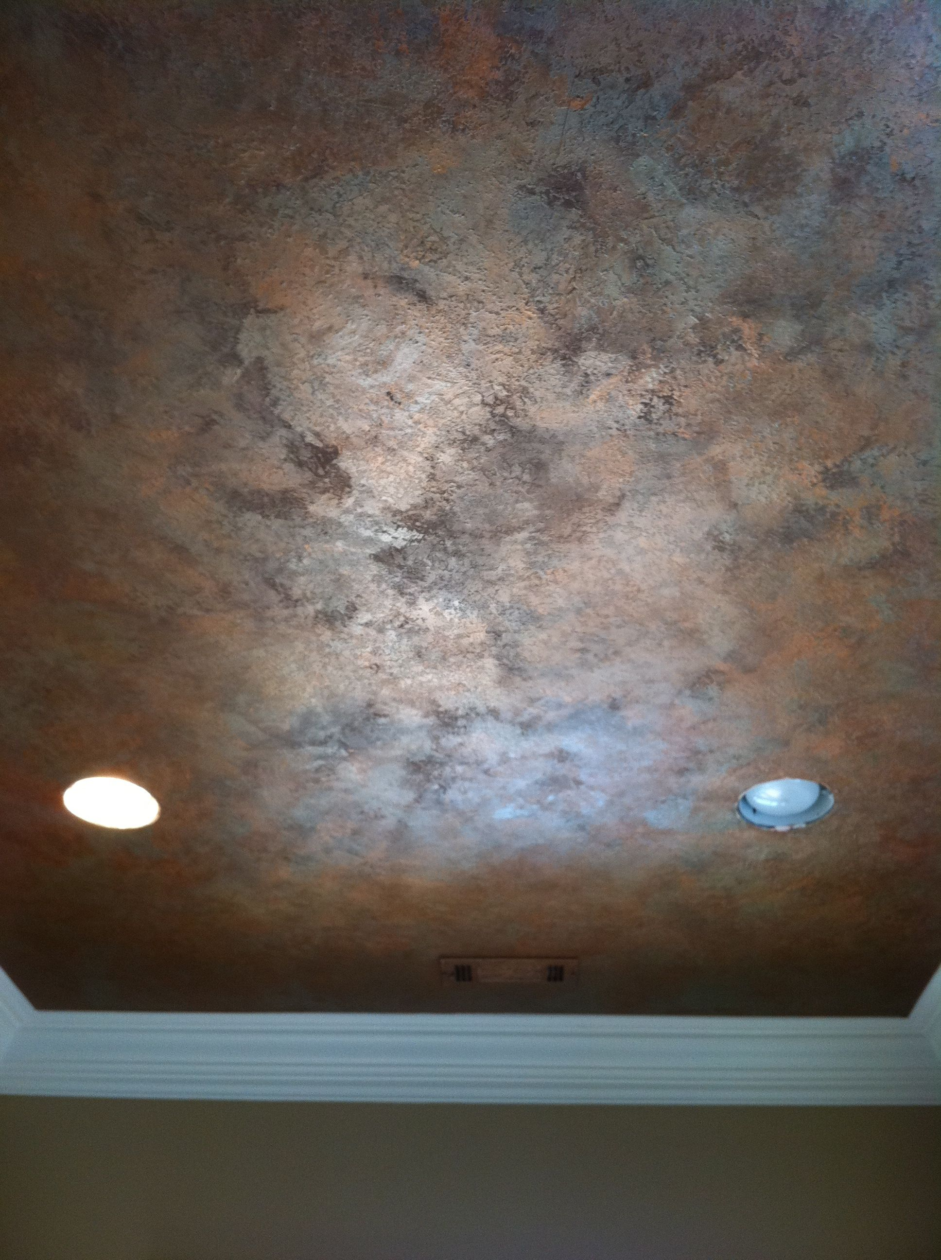 Knock Down Ceiling Knock Down Textured Finish With Metallic Waxes On Ceiling