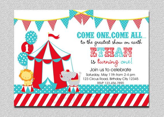 Carnival Circus Birthday Invitation Circus by TheTrendyButterfly - circus party invitation