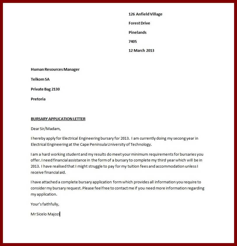 bursary application guide letter sample for scholarship - resignation letter format tips