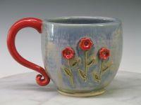 Mug - Coffee/Tea cup or mug - Red Flowers - Large Ceramic ...