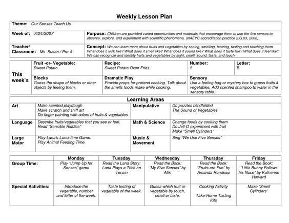 NAEYC Lesson Plan Template for Preschool Sample Weekly Lesson - sample music lesson plan template