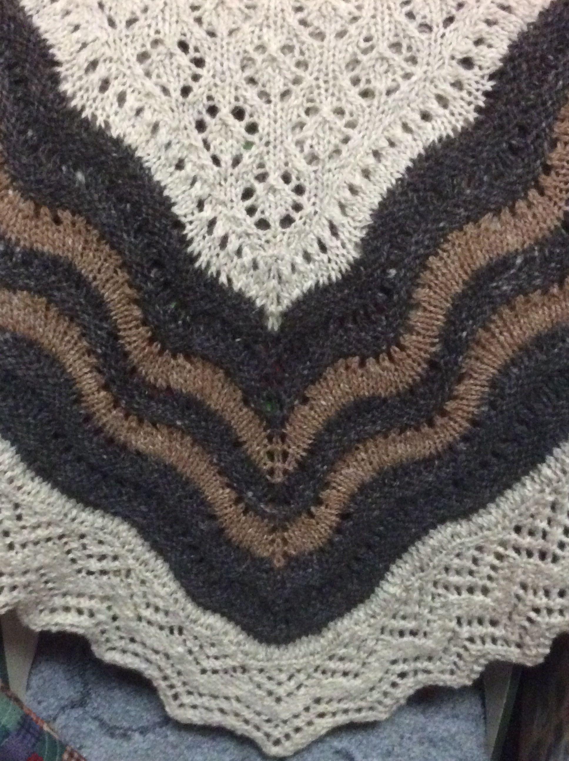 My Shetland Lace half hap shawl knit from handspun yarn