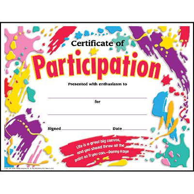 Certificate of Participation\/Paint Splat Colorful Classics - certificate of participation free template