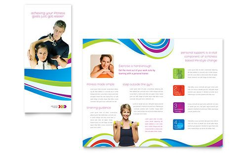 Personal Trainer Tri Fold Brochure - Word Template \ Publisher - brochure template word