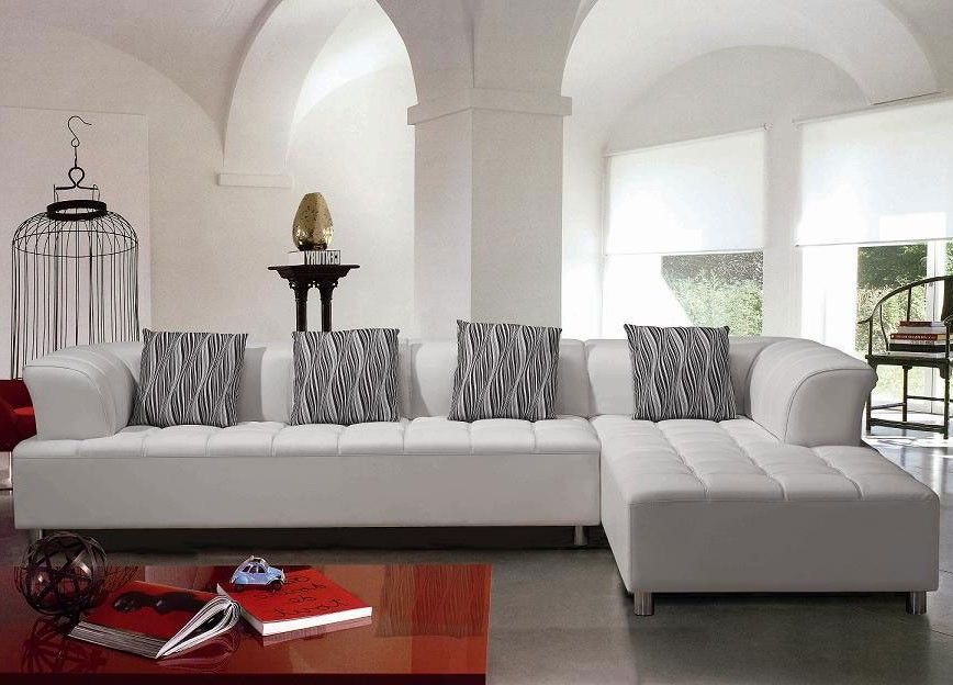 sectional contemporary sofa Modern White Sectional Sofa Set - white leather living room furniture
