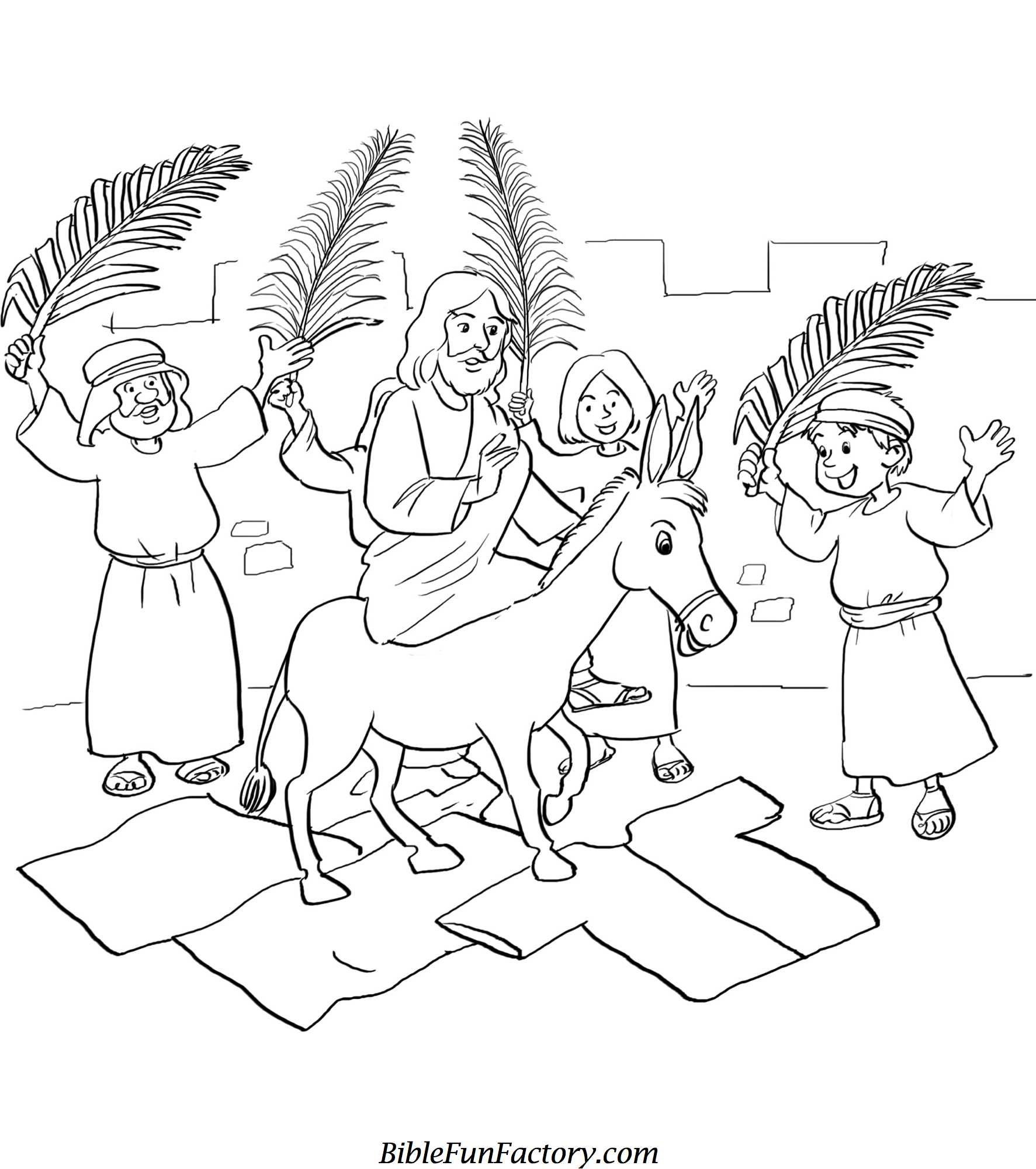 Free palm sunday coloring sheets bible lessons games and activities biblefunfactory com