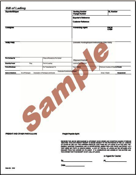 Printable Sample Bill Of Lading Pdf Form Real Estate Forms Word - generic bol form