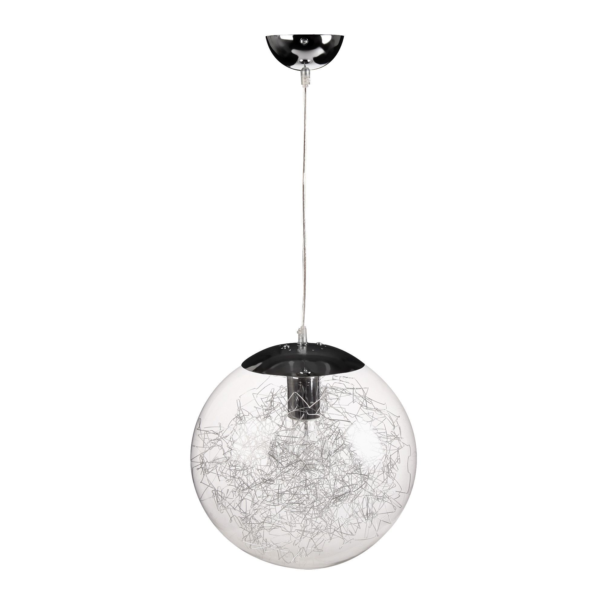 Luminaire Suspension Chambre Suspension Design D30cm Acier Verre Chrome Ball Les