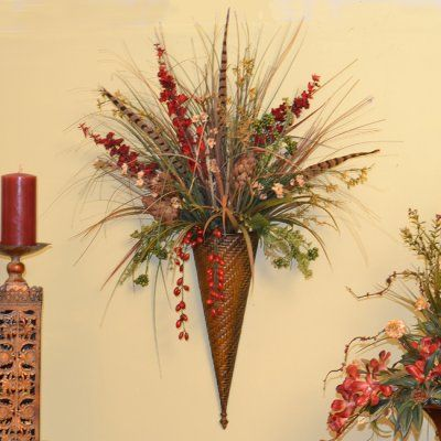 Grasses, Feathers and Hydrangea Silk Flroal Design NC132  Floral - silk arrangements for home decor