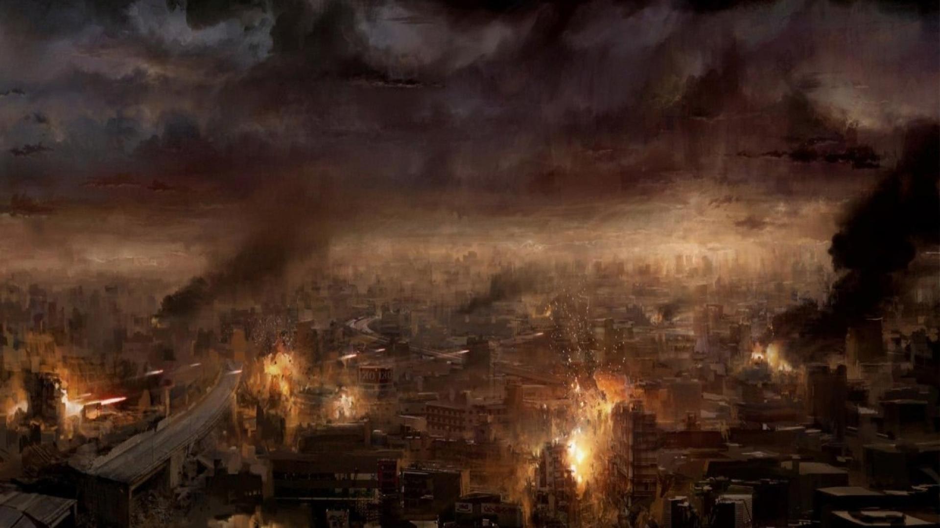 Cool Wallpaper Car Game Explostion Guns 1920x1080 Ruins Burning City Apocalypse Artwork Hd