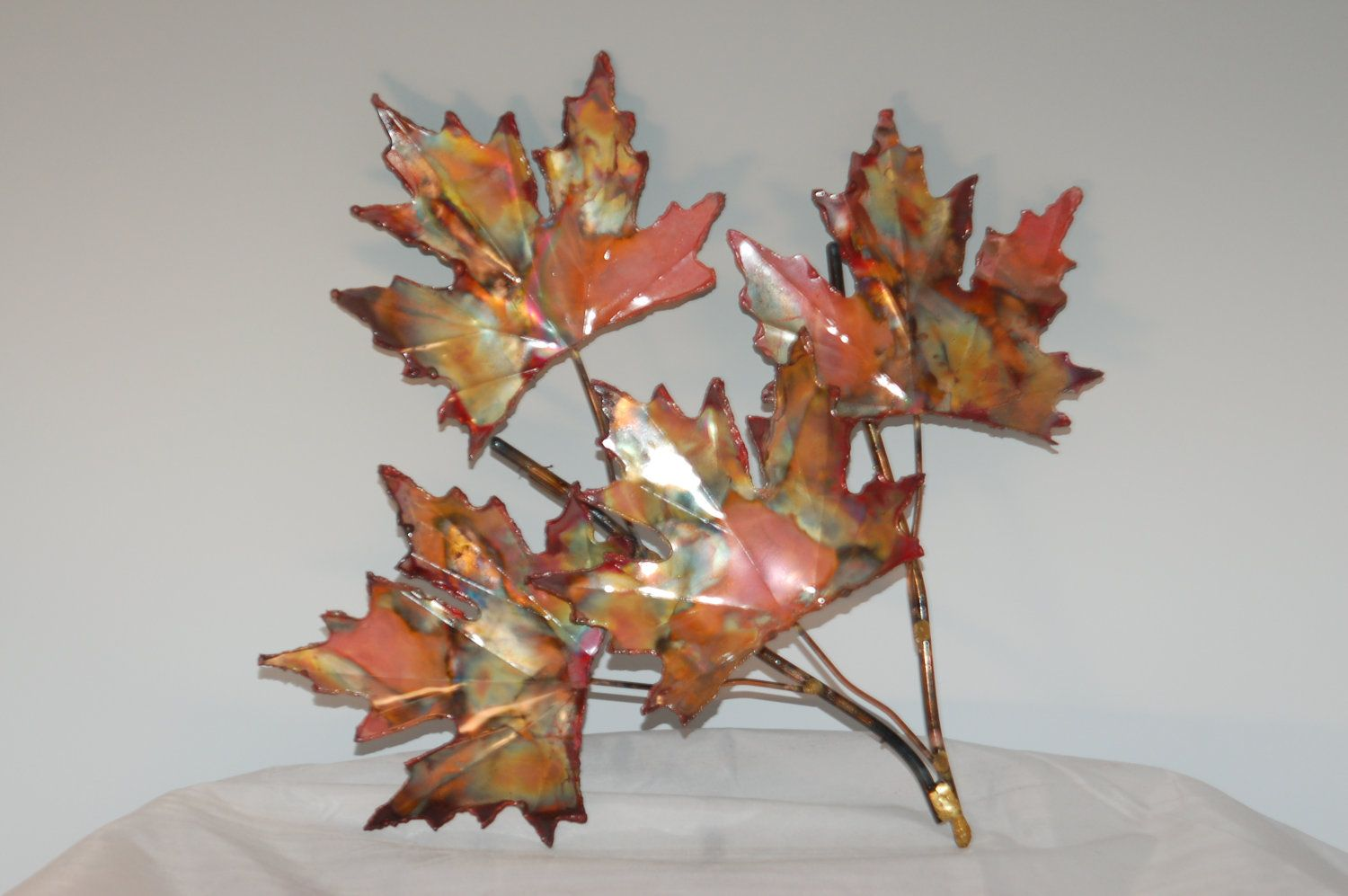 Leaf Metal Wall Art Copper Maple Leaf Branch Handcrafted Metal Sculpture Home