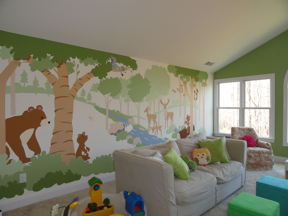 Rainforest Bedroom Ideas Forest Friends Paint By Number Wall Mural Forest Friends