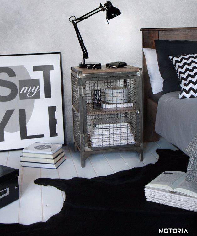 CLATRI Nachtschrank Nachttisch Industrial Metall Schlafzimmer - designer nachttische schlafzimmer