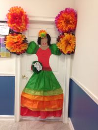 Tissue paper mexican door decoration | Classroom ideas ...