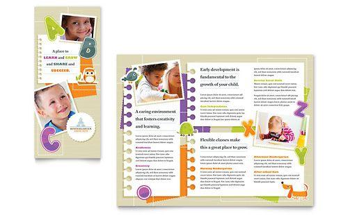 Kindergarten Tri Fold Brochure - Microsoft Word Template - microsoft word tri fold brochure