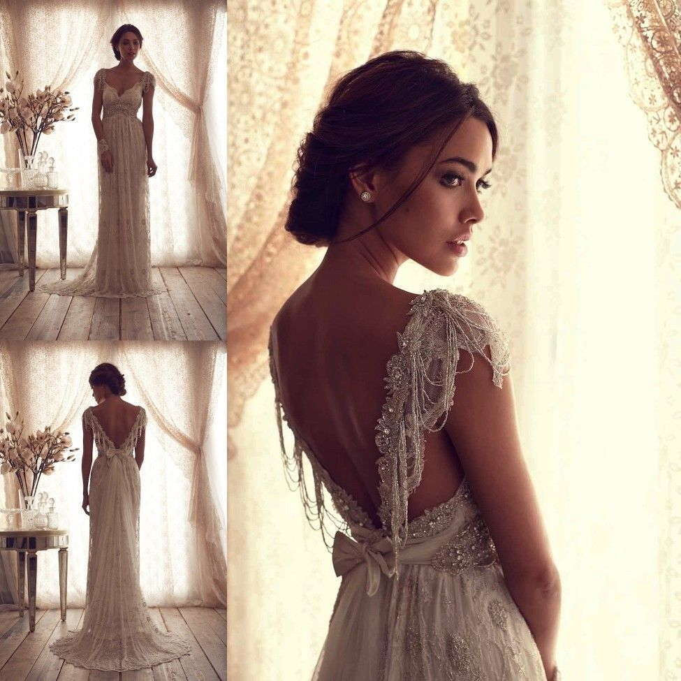 ivory lace wedding dress Anna Campbell Wedding Dresses Ivory Lace Sexy V Backless Bridal Wedding Gown Custom Size in