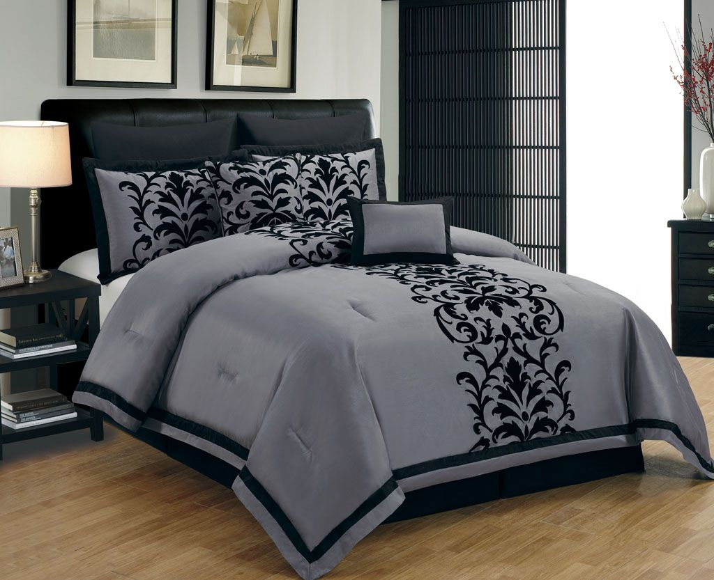 Queen Bed Set Blue And Grey Bedding Piece Queen Dawson Black And Gray