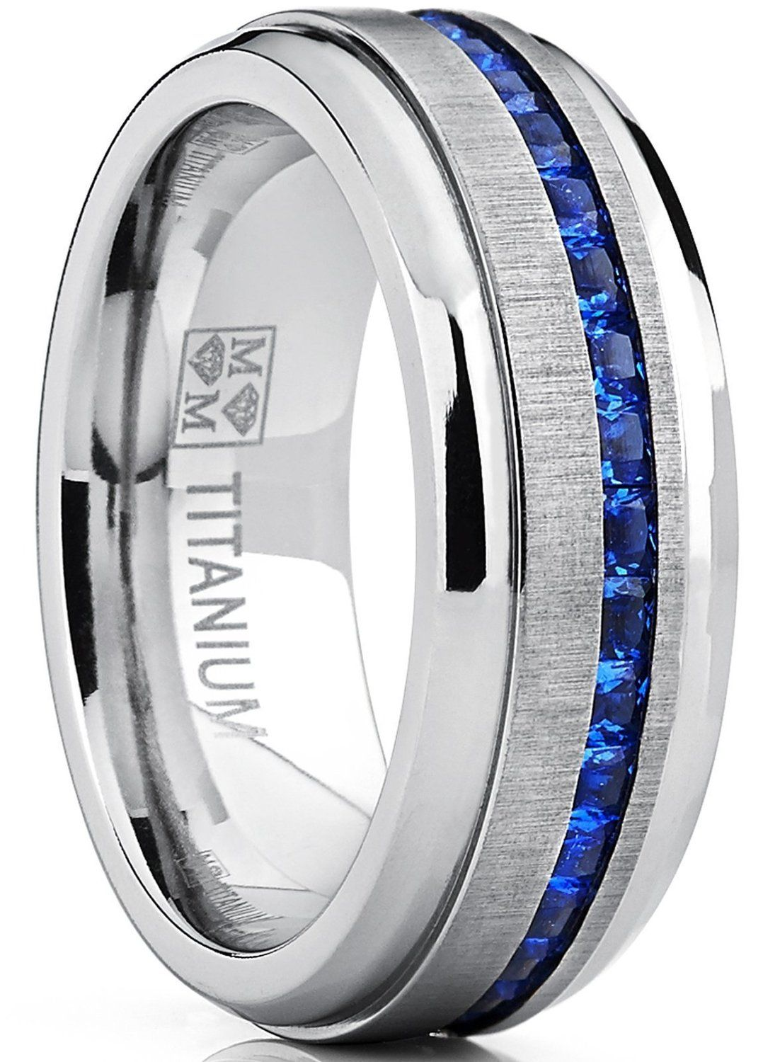 sapphire mens wedding band Amazon com Men s Eternity Titanium Wedding Band Engagement Ring W Blue Simulated Sapphire