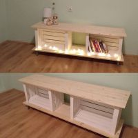 Our first DIY project. Wooden crates Pinterest inspired tv ...