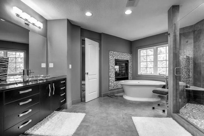 Badezimmer schwarz-weiß grauer weiss grau schwarz Badezimmer - badezimmer in grau