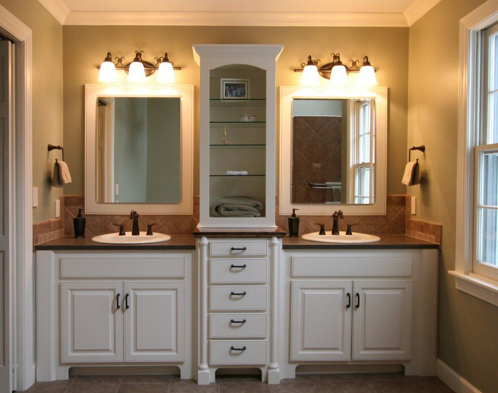 Small Bathroom Double Sink Master Bath Idea White Walls Cream Colored Counters And