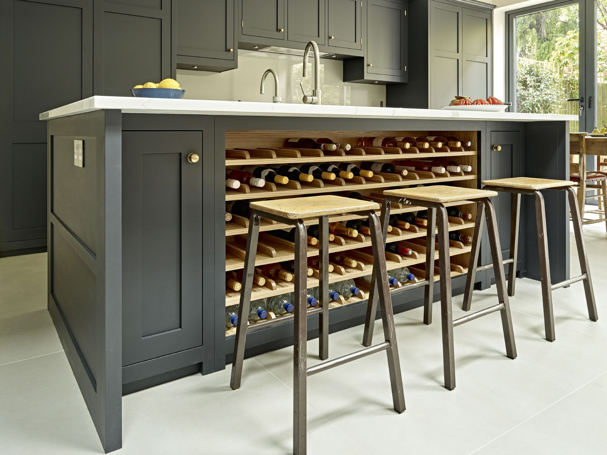 Kitchen Wine Rack Grey Black Kitchen Island Design With Integrated Wine Rack