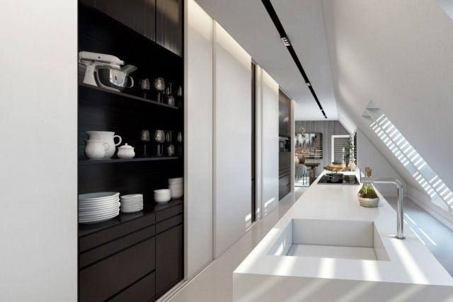 moderne einbauküche unter dachschräge gestalten-wohndesign ando - moderne kuche gestalten