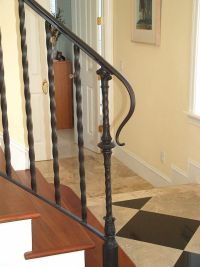 Antique Black Wrought Iron Stair Railing with Solid Brown ...