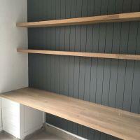 built in desk. VJ paneling, grey, white colour scheme ...