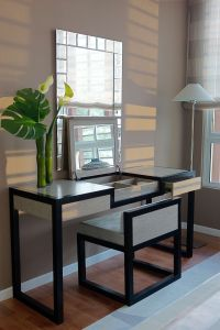 Furniture, Modern Black Bedroom Vanity With Upholstered ...