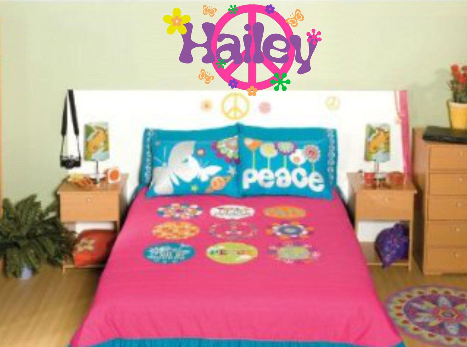 Peace Room Decor Peace Sign Decal Girl Name Wall Decal Retro Flowers Set